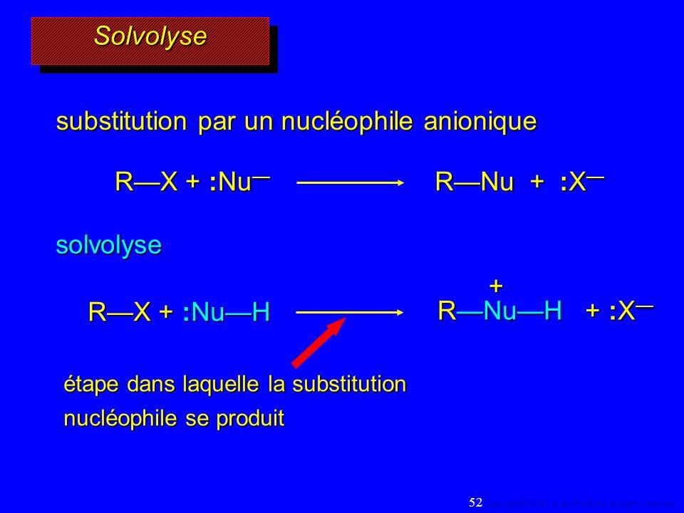 + SolvolyseSolvolyse substitution par un nucléophile anionique RX + :Nu RX + :Nu RNu + :X RNu + :X solvolyse RX + :NuH RNuH + :X RNuH + :X étape dans