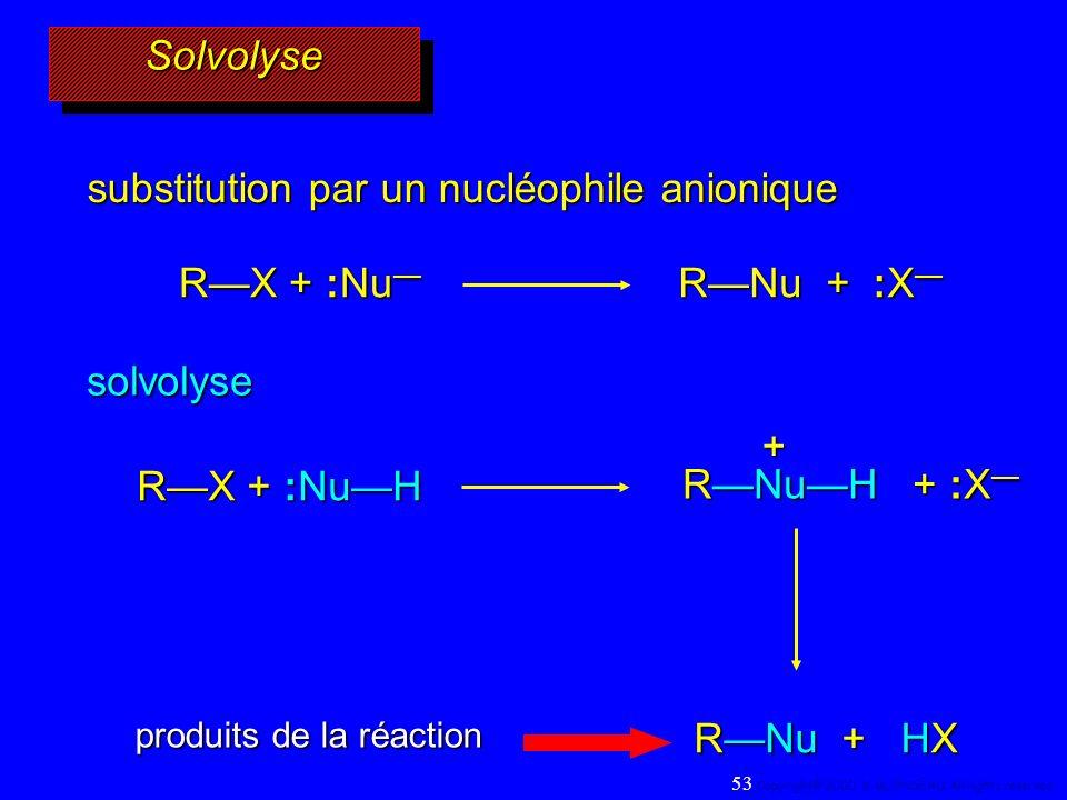 + SolvolyseSolvolyse substitution par un nucléophile anionique RX + :Nu RX + :Nu RNu + :X RNu + :X solvolyse RX + :NuH RNuH + :X RNuH + :X RNu + HX pr