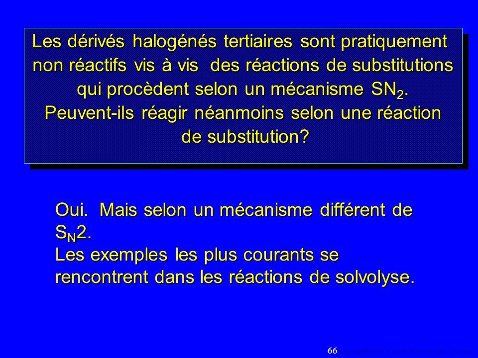 Les dérivés halogénés tertiaires sont pratiquement non réactifs vis à vis des réactions de substitutions qui procèdent selon un mécanisme SN 2. Peuven