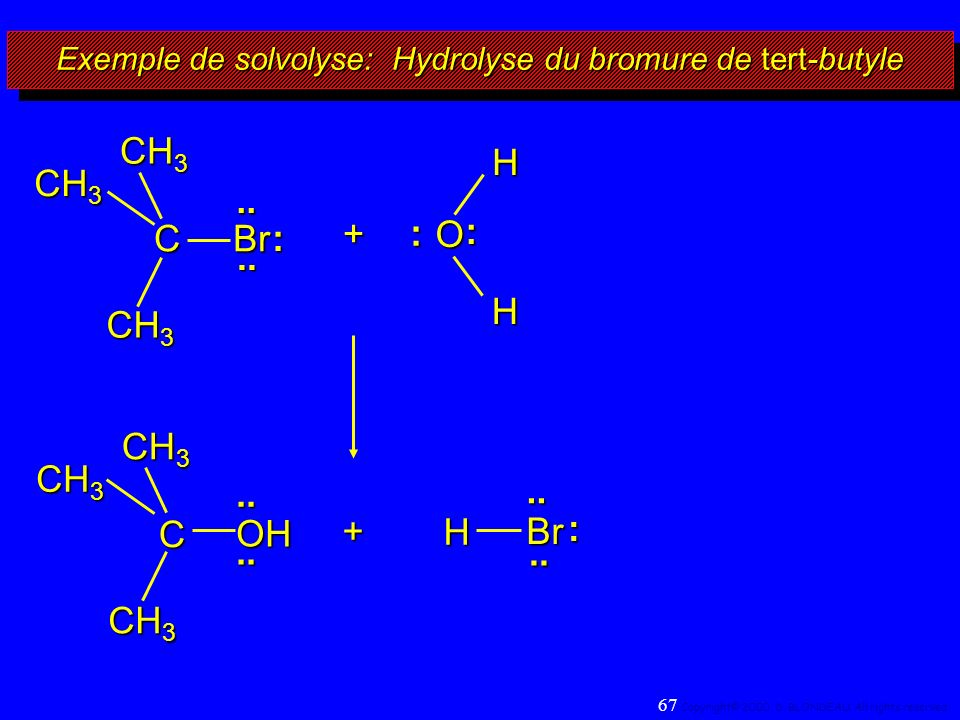 + + H Br.... : O : : HH Exemple de solvolyse: Hydrolyse du bromure de tert-butyle C CH 3 Br C OH........ : 67 Copyright© 2000, D. BLONDEAU. All rights