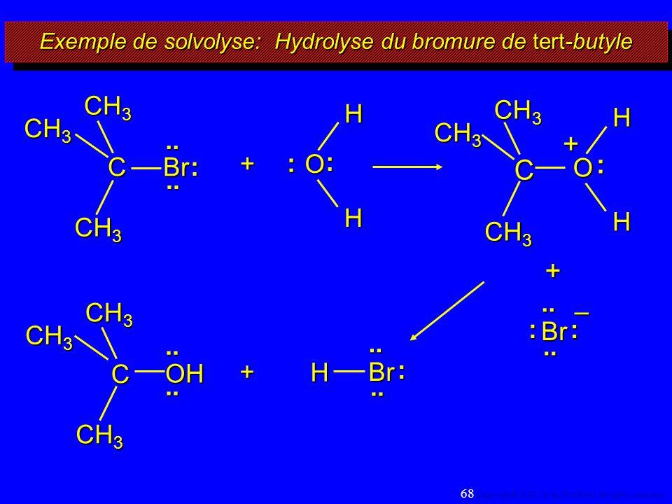 Exemple de solvolyse: Hydrolyse du bromure de tert-butyle + + H Br.... : O : : HHC + + O : HH Br.... : : – CH 3 C Br C OH........ : 68 Copyright© 2000