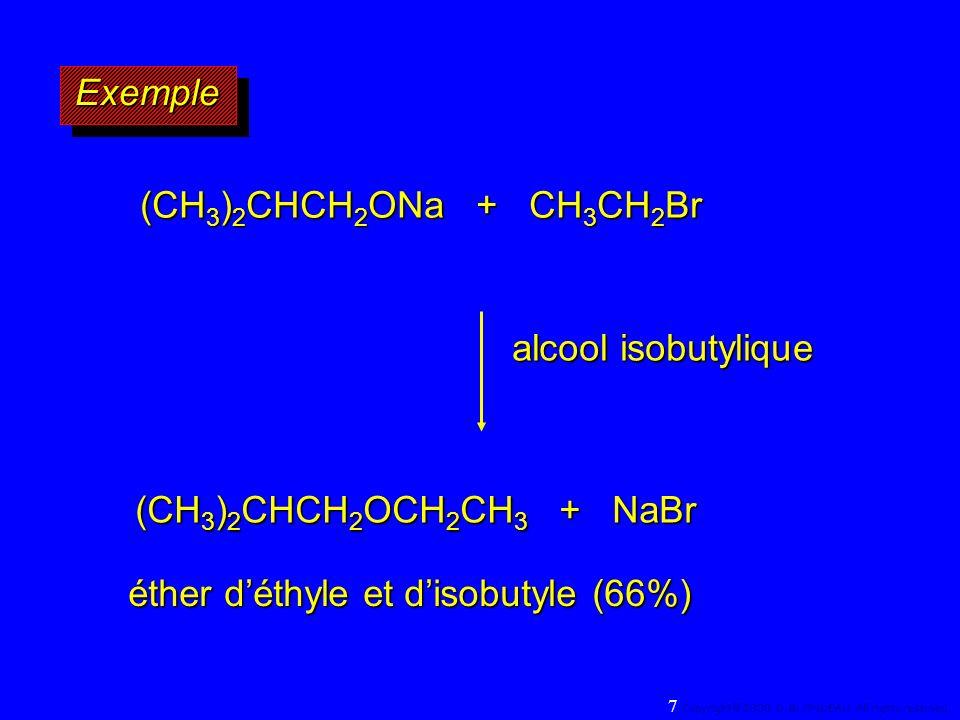 Les alcools Secondaires réagissent avec les halogénures dhydrogène avec une préférence pour linversion de configuration CH H3CH3CH3CH3C OH CH 3 (CH 2 ) 5 CH H3CH3CH3CH3C Br C H CH 3 (CH 2 ) 5 CH 3 Br HBr 87% 13% Le mécanisme raisonnable est SN 1 avec la présence, en front du carbocation, du groupe partant (C + protégé) 128 Copyright© 2004, D.