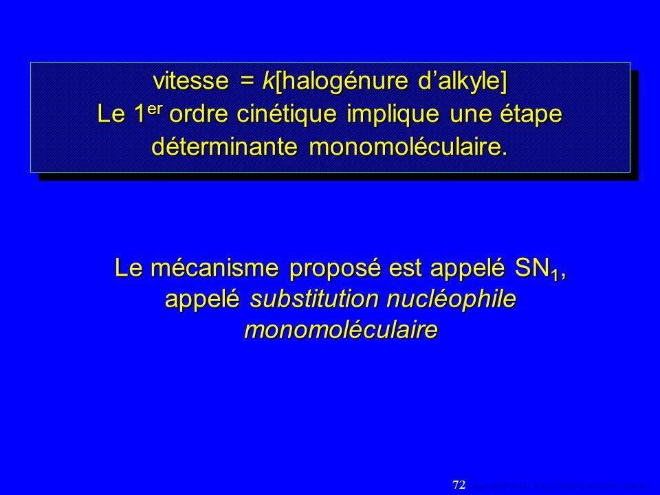 vitesse = k[halogénure dalkyle] Le 1 er ordre cinétique implique une étape déterminante monomoléculaire. vitesse = k[halogénure dalkyle] Le 1 er ordre
