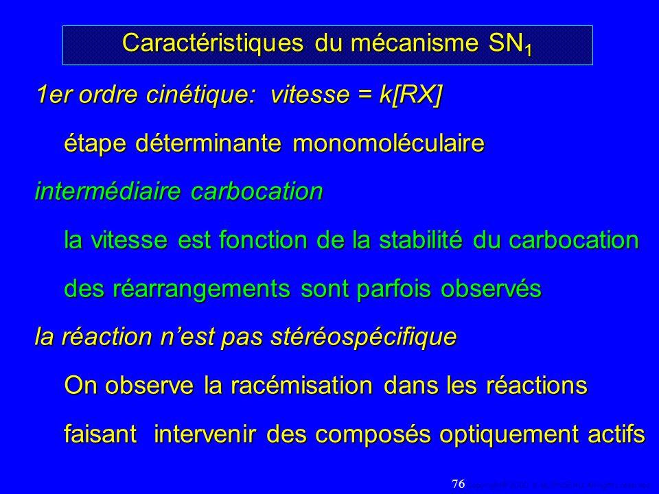 Caractéristiques du mécanisme SN 1 1er ordre cinétique: vitesse = k[RX] étape déterminante monomoléculaire intermédiaire carbocation la vitesse est fo
