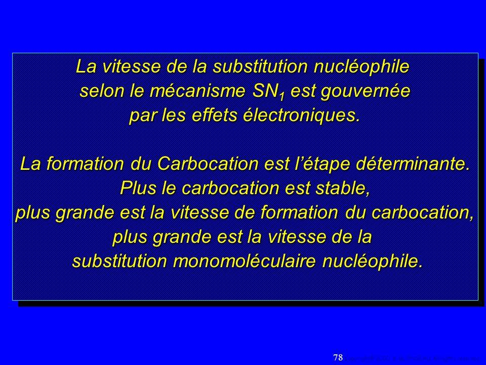 La vitesse de la substitution nucléophile selon le mécanisme SN 1 est gouvernée par les effets électroniques. La formation du Carbocation est létape d