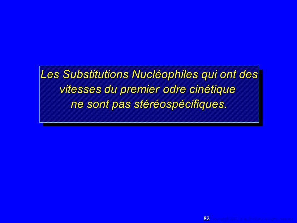 Les Substitutions Nucléophiles qui ont des vitesses du premier odre cinétique ne sont pas stéréospécifiques. Les Substitutions Nucléophiles qui ont de