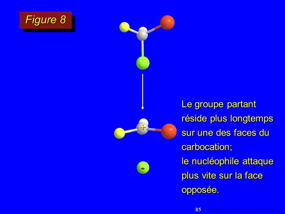 Le groupe partant réside plus longtemps sur une des faces du carbocation; le nucléophile attaque plus vite sur la face opposée. Figure 8 85 Copyright©