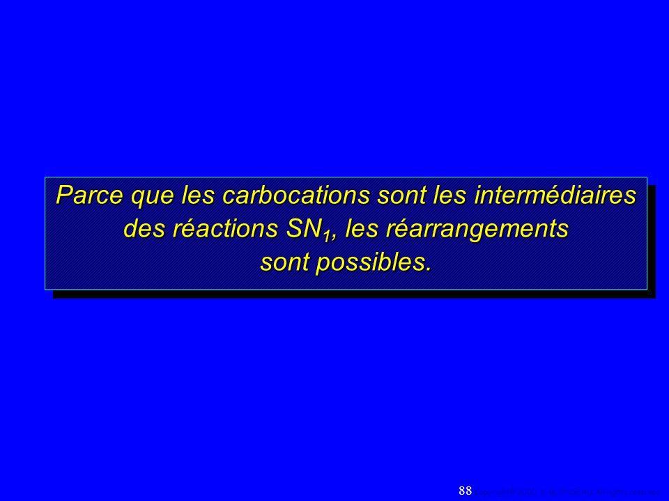 Parce que les carbocations sont les intermédiaires des réactions SN 1, les réarrangements sont possibles. 88 Copyright© 2000, D. BLONDEAU. All rights