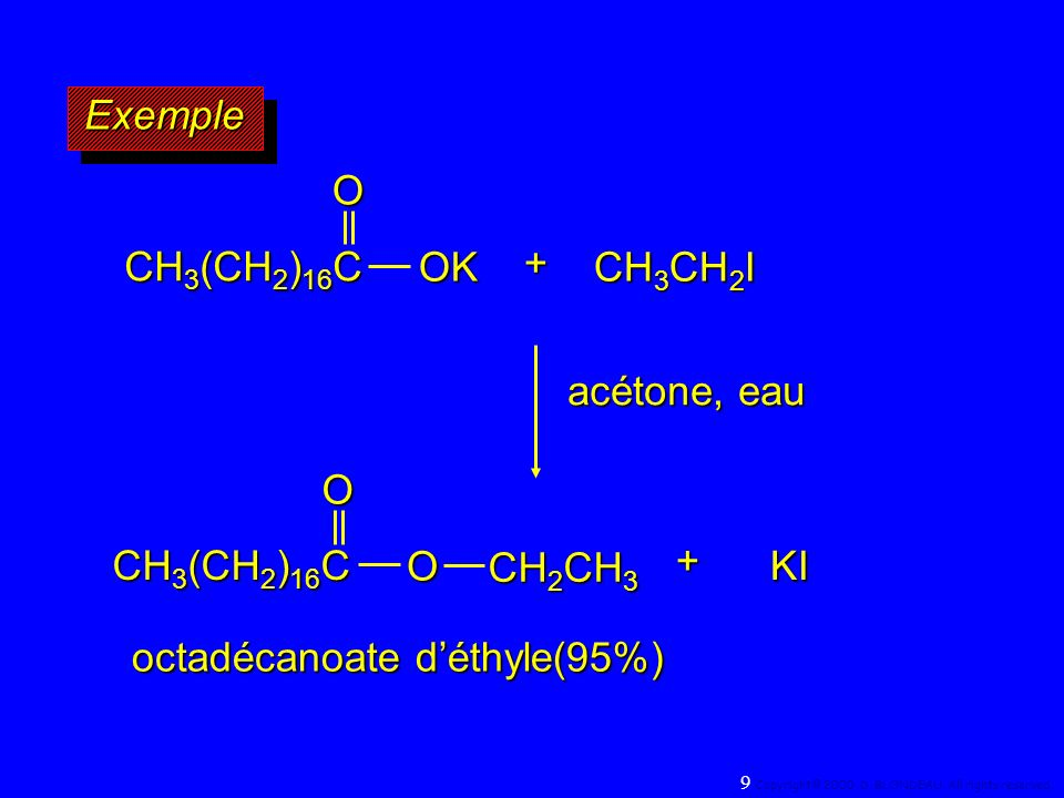 A partir du fait que la réaction majeure dun halogénure dalkyle secondaire avec un ion alkoxyde est la réaction d élimination selon le mécanisme E 2, nous pouvons poser que la proportion de la réaction de substitution saccroît avec: A partir du fait que la réaction majeure dun halogénure dalkyle secondaire avec un ion alkoxyde est la réaction d élimination selon le mécanisme E 2, nous pouvons poser que la proportion de la réaction de substitution saccroît avec: 1)un encombrement stérique moindre au niveau du carbone qui porte le groupe partant 1)un encombrement stérique moindre au niveau du carbone qui porte le groupe partant 2)en diminuant la basicité du nucléophile 110 Copyright© 2000, D.