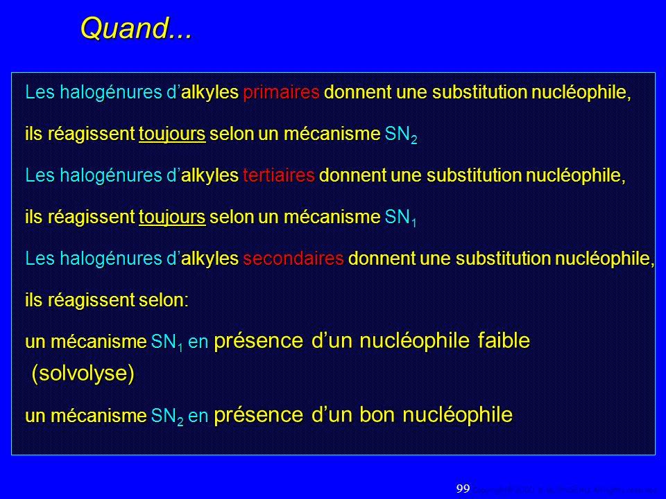 Quand... Les halogénures dalkyles primaires donnent une substitution nucléophile, ils réagissent toujours selon un mécanisme SN 2 Les halogénures dalk