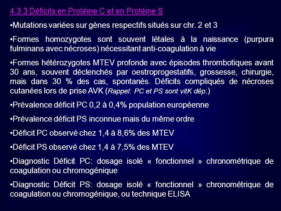 4.3.3 Déficits en Protéine C et en Protéine S Mutations variées sur gènes respectifs situés sur chr. 2 et 3 Formes homozygotes sont souvent létales à