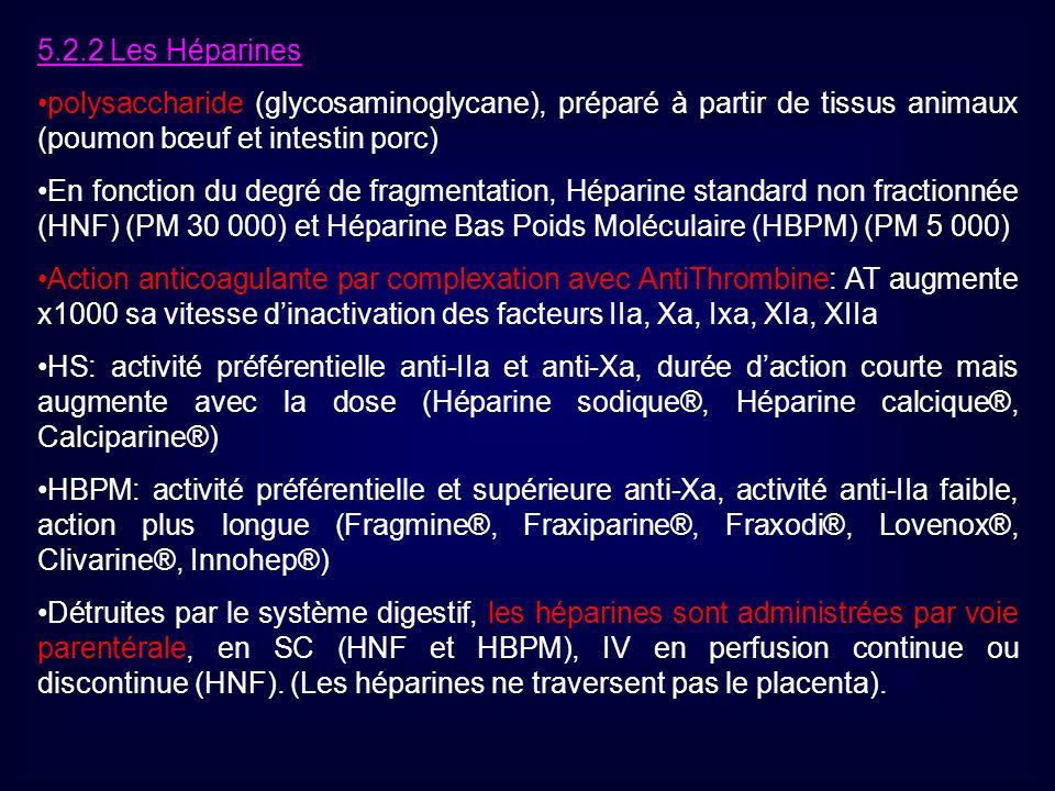 5.2.2 Les Héparines polysaccharide (glycosaminoglycane), préparé à partir de tissus animaux (poumon bœuf et intestin porc) En fonction du degré de fra