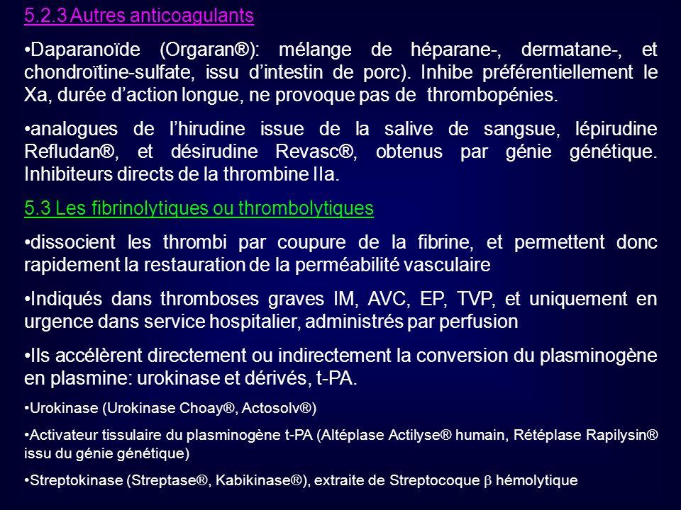 5.2.3 Autres anticoagulants Daparanoïde (Orgaran®): mélange de héparane-, dermatane-, et chondroïtine-sulfate, issu dintestin de porc). Inhibe préfére