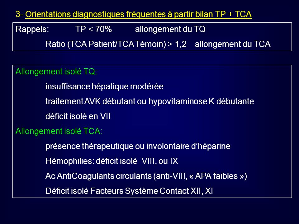 3- Orientations diagnostiques fréquentes à partir bilan TP + TCA Rappels:TP < 70% allongement du TQ Ratio (TCA Patient/TCA Témoin) > 1,2 allongement d