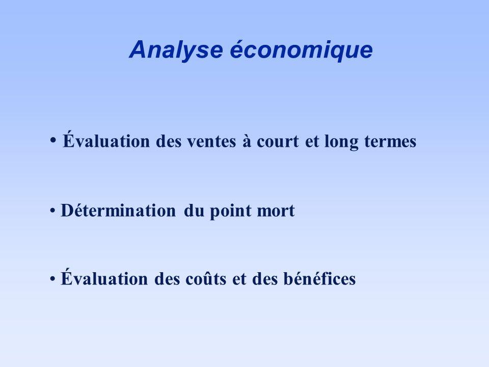 Analyse économique Évaluation des ventes à court et long termes Détermination du point mort Évaluation des coûts et des bénéfices