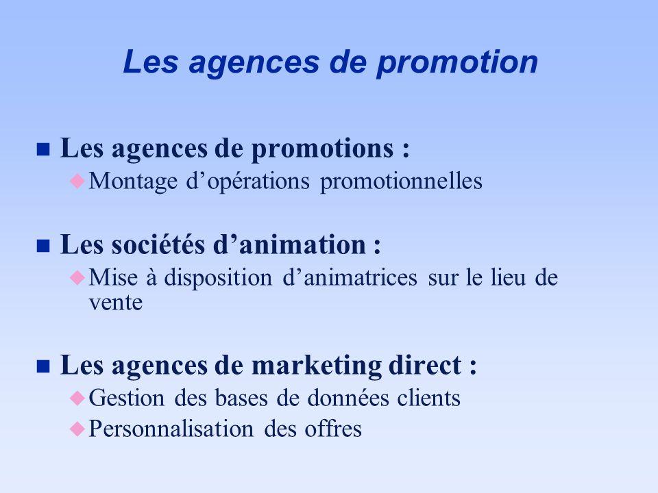 Les agences de promotion n Les agences de promotions : u Montage dopérations promotionnelles n Les sociétés danimation : u Mise à disposition danimatr