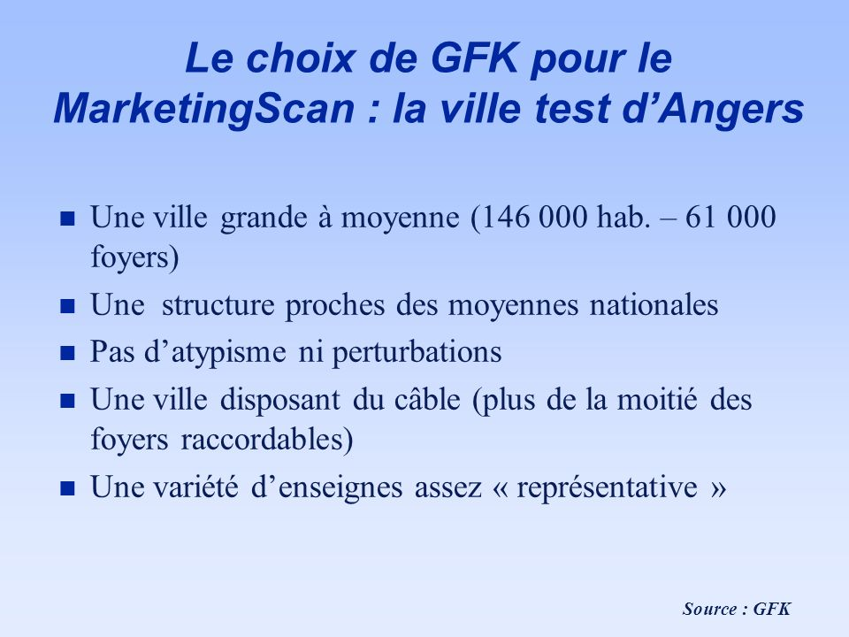 Le choix de GFK pour le MarketingScan : la ville test dAngers n Une ville grande à moyenne (146 000 hab. – 61 000 foyers) n Une structure proches des