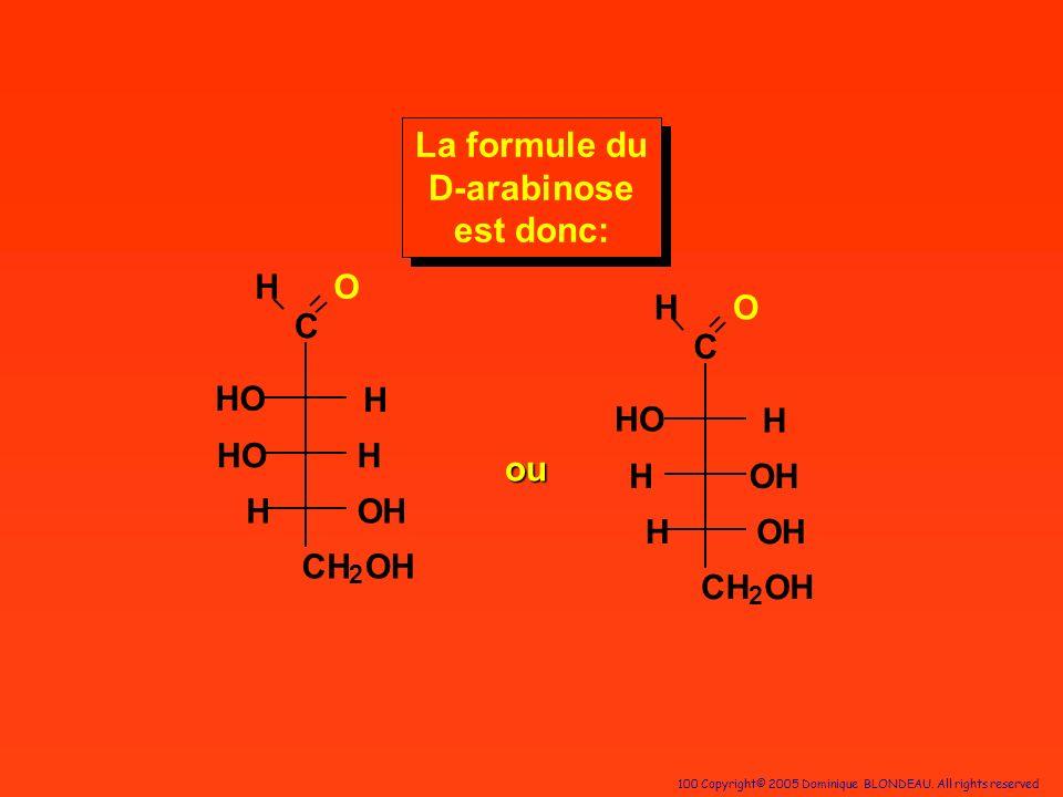 100 Copyright© 2005 Dominique BLONDEAU. All rights reserved C HO H H OH CH 2 OH HO H C HO H OH OH CH 2 HO H H La formule du D-arabinose est donc: ou