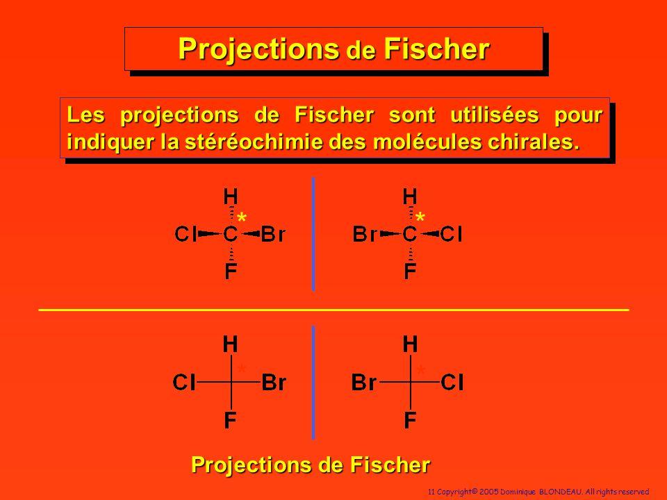 11 Copyright© 2005 Dominique BLONDEAU. All rights reserved Projections de Fischer Les projections de Fischer sont utilisées pour indiquer la stéréochi