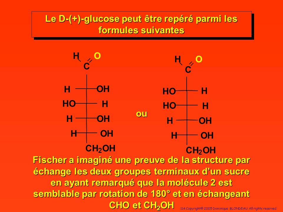 114 Copyright© 2005 Dominique BLONDEAU. All rights reserved C HO H OH OH CH 2 HO H H C HO H OH OH CH 2 HO H H ou OH H H HO Le D-(+)-glucose peut être