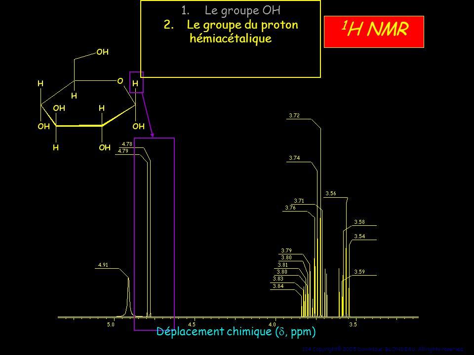 134 Copyright© 2005 Dominique BLONDEAU. All rights reserved 1 H NMR Déplacement chimique (, ppm) 1.Le groupe OH 2.Le groupe du proton hémiacétalique 3