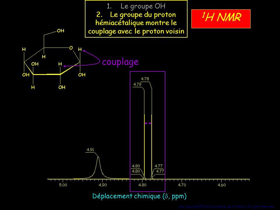 136 Copyright© 2005 Dominique BLONDEAU. All rights reserved 1 H NMR Déplacement chimique (, ppm) couplage 1.Le groupe OH 2.Le groupe du proton hémiacé