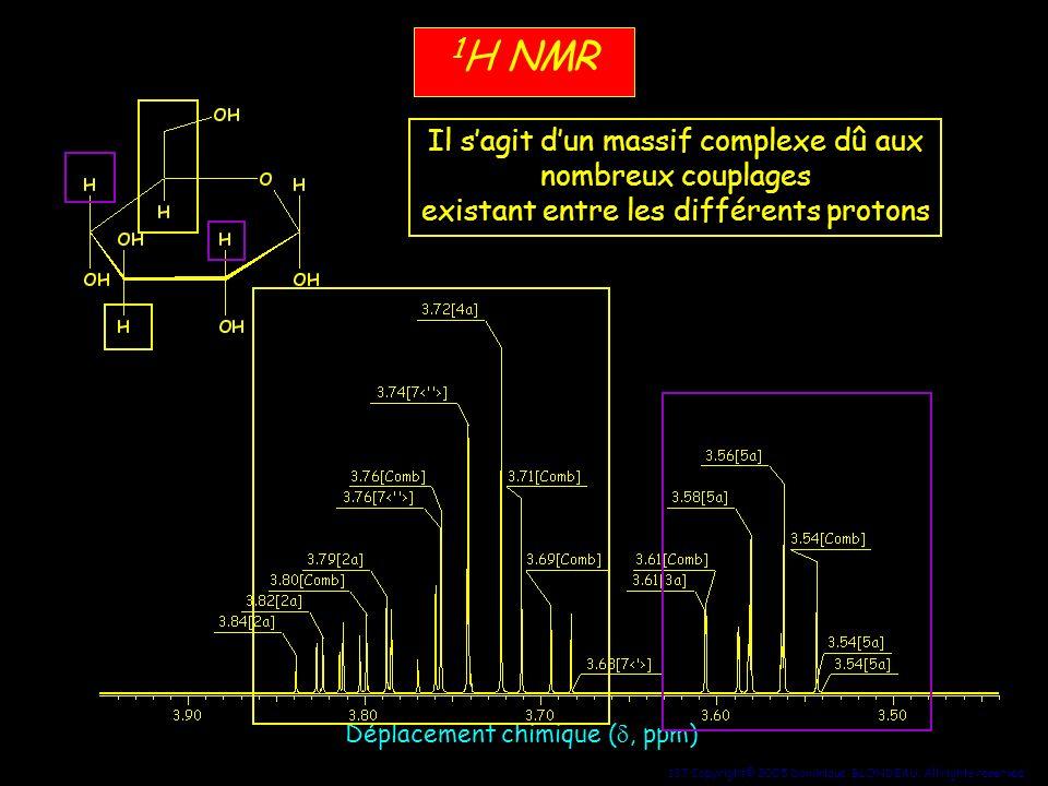 137 Copyright© 2005 Dominique BLONDEAU. All rights reserved 1 H NMR Déplacement chimique (, ppm) Il sagit dun massif complexe dû aux nombreux couplage