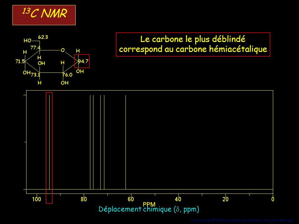 143 Copyright© 2005 Dominique BLONDEAU. All rights reserved 13 C NMR Déplacement chimique (, ppm) Le carbone le plus déblindé correspond au carbone hé