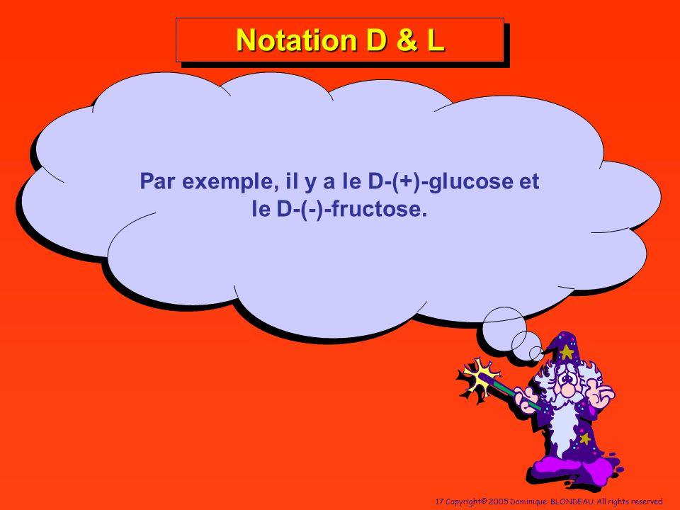 17 Copyright© 2005 Dominique BLONDEAU. All rights reserved Par exemple, il y a le D-(+)-glucose et le D-(-)-fructose. Notation D & L