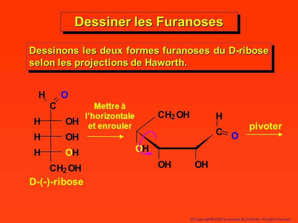 25 Copyright© 2005 Dominique BLONDEAU. All rights reserved Dessiner les Furanoses Dessinons les deux formes furanoses du D-ribose selon les projection