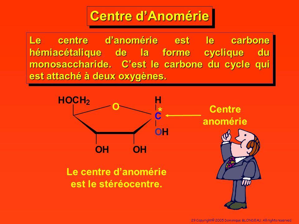 29 Copyright© 2005 Dominique BLONDEAU. All rights reserved Centre dAnomérie Le centre danomérie est le carbone hémiacétalique de la forme cyclique du