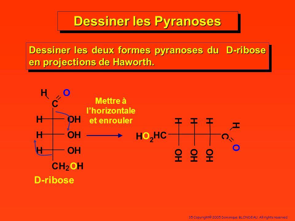 35 Copyright© 2005 Dominique BLONDEAU. All rights reserved Dessiner les Pyranoses Dessiner les deux formes pyranoses du D-ribose en projections de Haw