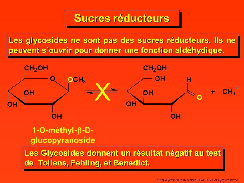 71 Copyright© 2005 Dominique BLONDEAU. All rights reserved O OH OCH 3 CH 2 OH OH OH OH CH 2 OH OH OH OH O H + CH 3 + X 1-O-méthyl- -D- glucopyranoside
