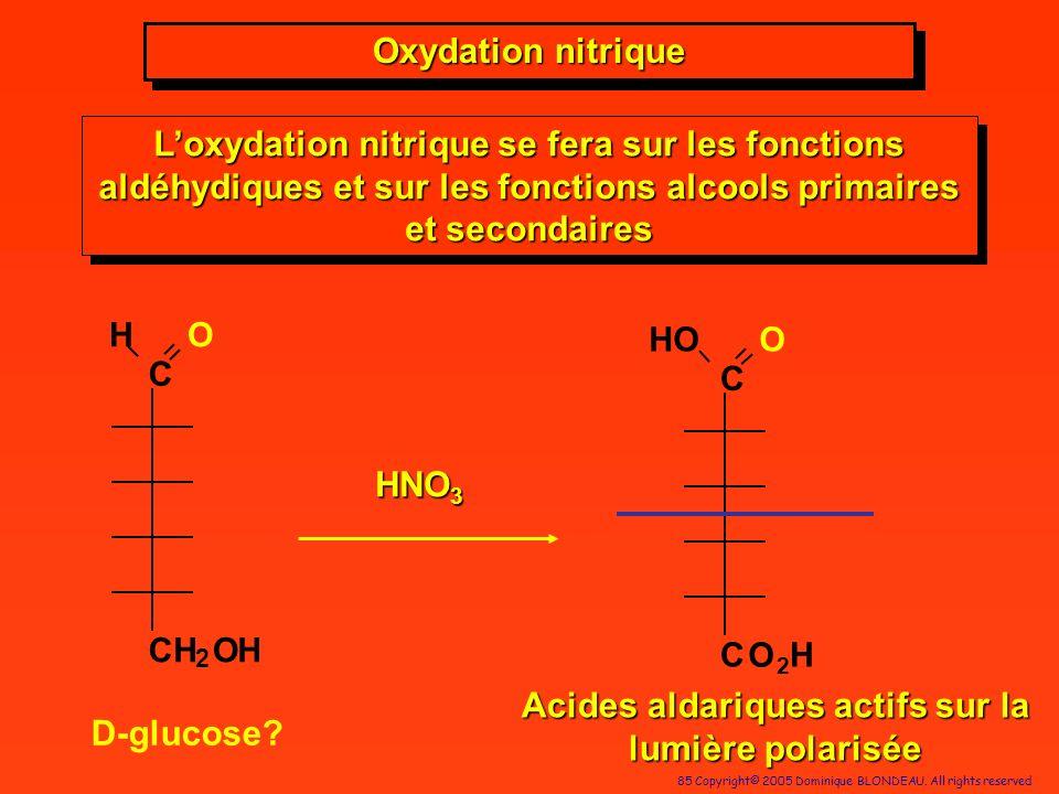 85 Copyright© 2005 Dominique BLONDEAU. All rights reserved Acides aldariques actifs sur la lumière polarisée HNO 3 Oxydation nitrique Loxydation nitri
