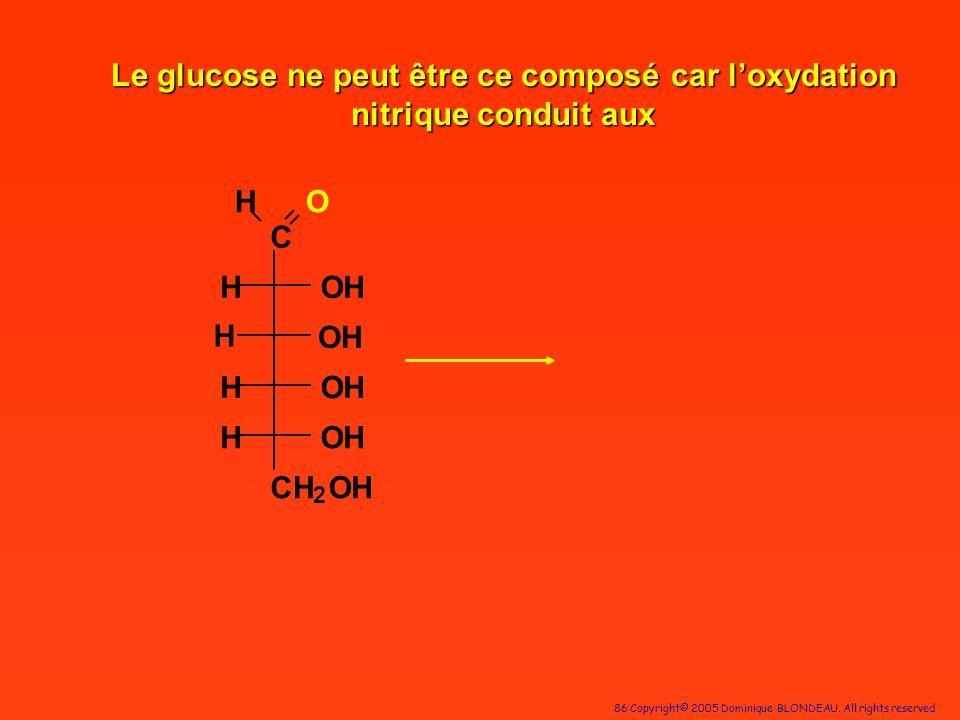 86 Copyright© 2005 Dominique BLONDEAU. All rights reserved C HO OH OH OH OH CH 2 OH H H H H Le glucose ne peut être ce composé car loxydation nitrique