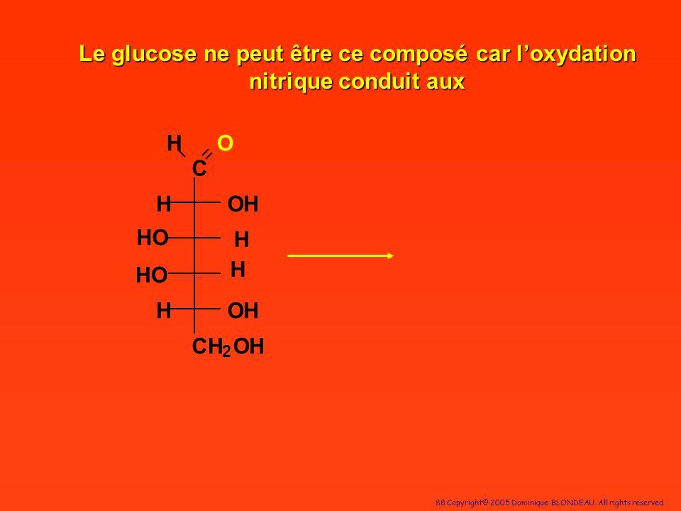 88 Copyright© 2005 Dominique BLONDEAU. All rights reserved C HO OH H H OH CH 2 OH H HO H Le glucose ne peut être ce composé car loxydation nitrique co