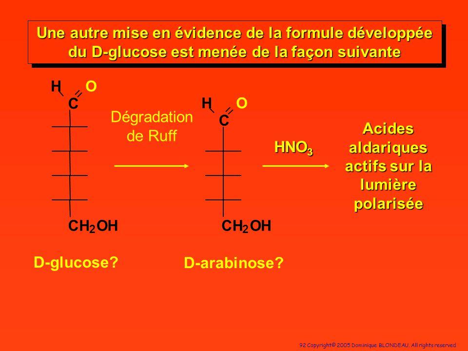 92 Copyright© 2005 Dominique BLONDEAU. All rights reserved D-glucose? C HO CH 2 OH Dégradation de Ruff C HO CH 2 OH HNO 3 Acides aldariques actifs sur