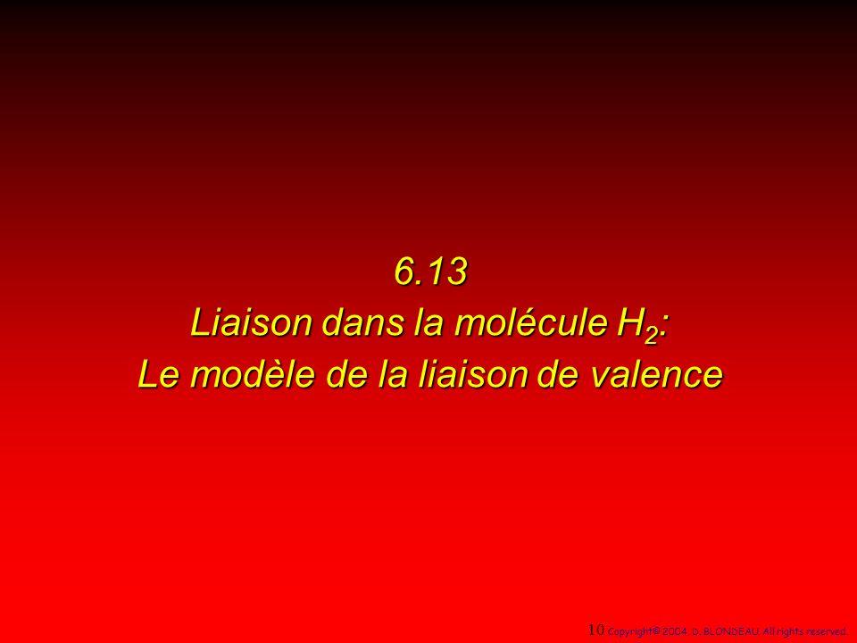 6.13 Liaison dans la molécule H 2 : Le modèle de la liaison de valence 10 Copyright© 2004, D.