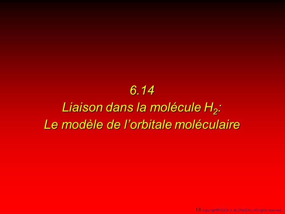 6.14 Liaison dans la molécule H 2 : Le modèle de lorbitale moléculaire 18 Copyright© 2004, D.