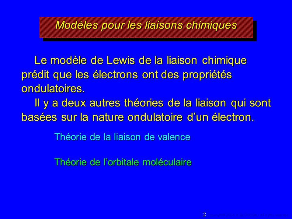 Modèles pour les liaisons chimiques Théorie de la liaison de valence Théorie de lorbitale moléculaire Le modèle de Lewis de la liaison chimique prédit que les électrons ont des propriétés ondulatoires.