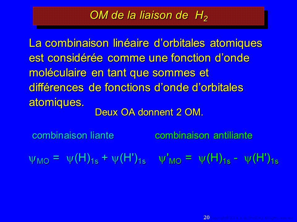 OM de la liaison de H 2 Deux OA donnent 2 OM.