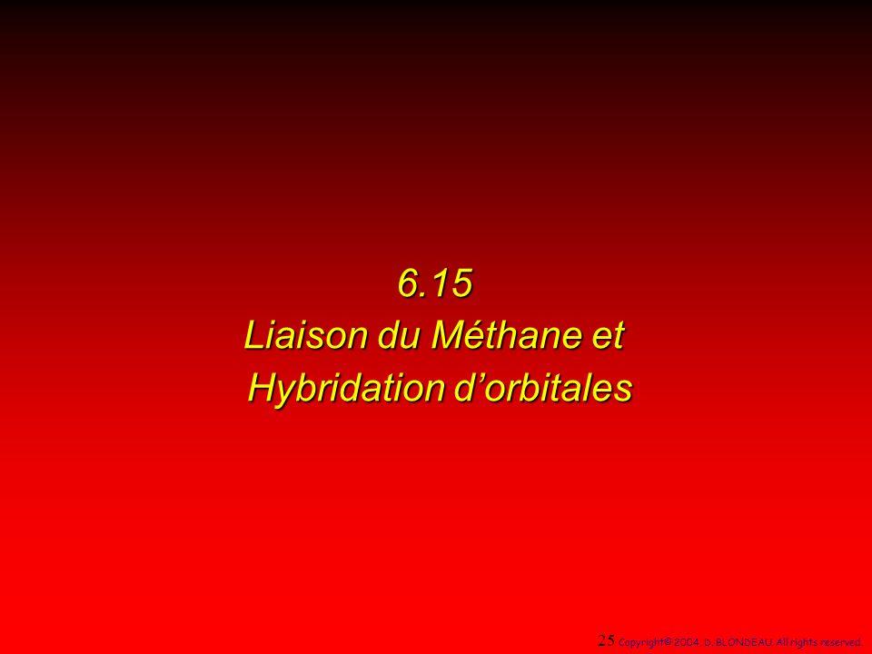6.15 Liaison du Méthane et Hybridation dorbitales 25 Copyright© 2004, D.