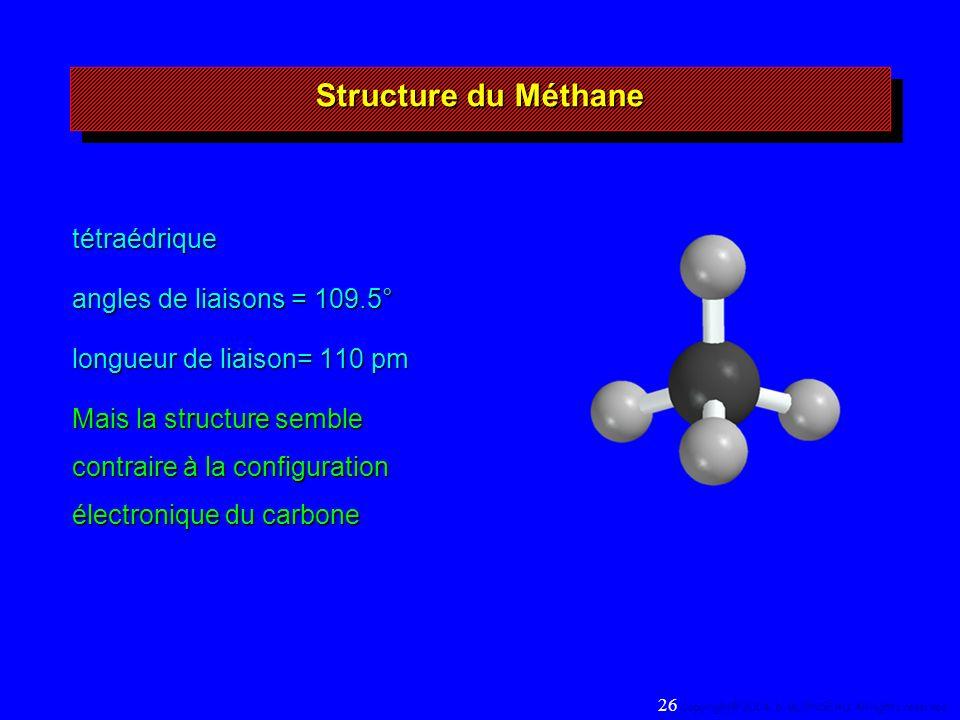 Structure du Méthane tétraédrique angles de liaisons = 109.5° longueur de liaison= 110 pm Mais la structure semble contraire à la configuration électronique du carbone 26 Copyright© 2004, D.