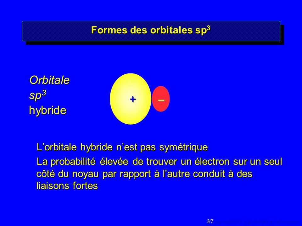Orbitale sp 3 hybride Formes des orbitales sp 3 Lorbitale hybride nest pas symétrique La probabilité élevée de trouver un électron sur un seul côté du noyau par rapport à lautre conduit à des liaisons fortes 37 Copyright© 2004, D.