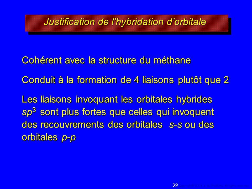 Justification de lhybridation dorbitale Cohérent avec la structure du méthane Conduit à la formation de 4 liaisons plutôt que 2 Les liaisons invoquant les orbitales hybrides sp 3 sont plus fortes que celles qui invoquent des recouvrements des orbitales s-s ou des orbitales p-p 39 Copyright© 2004, D.
