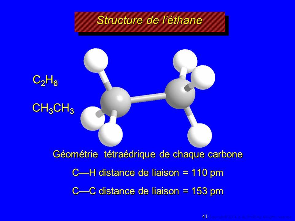 Structure de léthane CH 3 CH 3 C2H6C2H6C2H6C2H6 Géométrie tétraédrique de chaque carbone CH distance de liaison = 110 pm CC distance de liaison = 153 pm 41 Copyright© 2004, D.