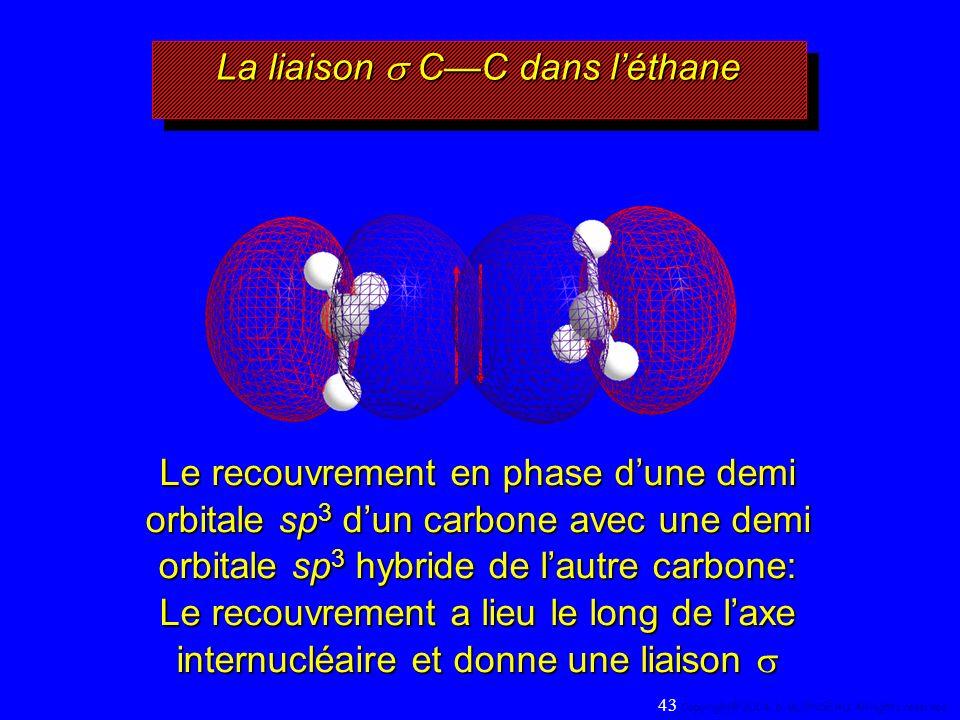 La liaison CC dans léthane Le recouvrement en phase dune demi orbitale sp 3 dun carbone avec une demi orbitale sp 3 hybride de lautre carbone: Le recouvrement a lieu le long de laxe internucléaire et donne une liaison Le recouvrement a lieu le long de laxe internucléaire et donne une liaison 43 Copyright© 2004, D.