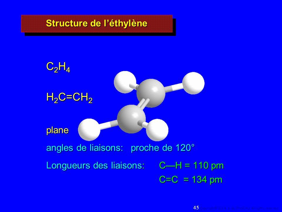 C 2 H 4 H 2 C=CH 2 plane angles de liaisons: proche de 120° Longueurs des liaisons: CH = 110 pm C=C = 134 pm Structure de léthylène 45 Copyright© 2004, D.