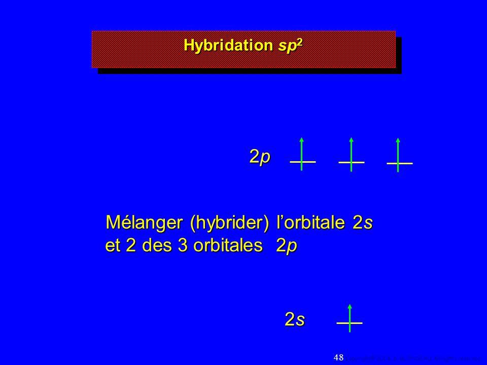 2p2p2p2p 2s2s2s2s Mélanger (hybrider) lorbitale 2s et 2 des 3 orbitales 2p Hybridation sp 2 48 Copyright© 2004, D.