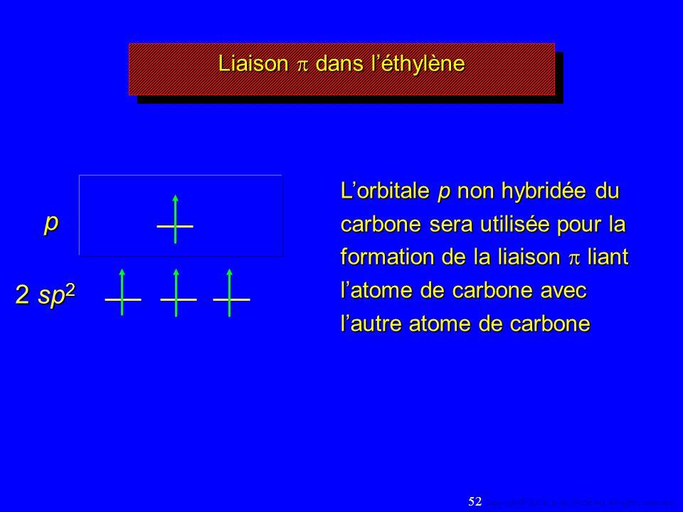 Liaison dans léthylène 2 sp 2 Lorbitale p non hybridée du carbone sera utilisée pour la formation de la liaison liant latome de carbone avec lautre atome de carbone p 52 Copyright© 2004, D.